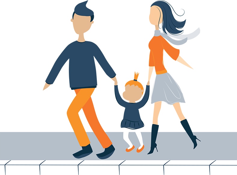 illustration of parents walking down the street with their daughter