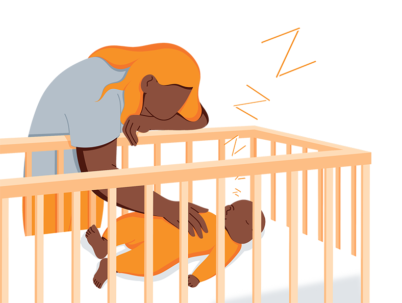 mother wakes up baby according to schedule illustration