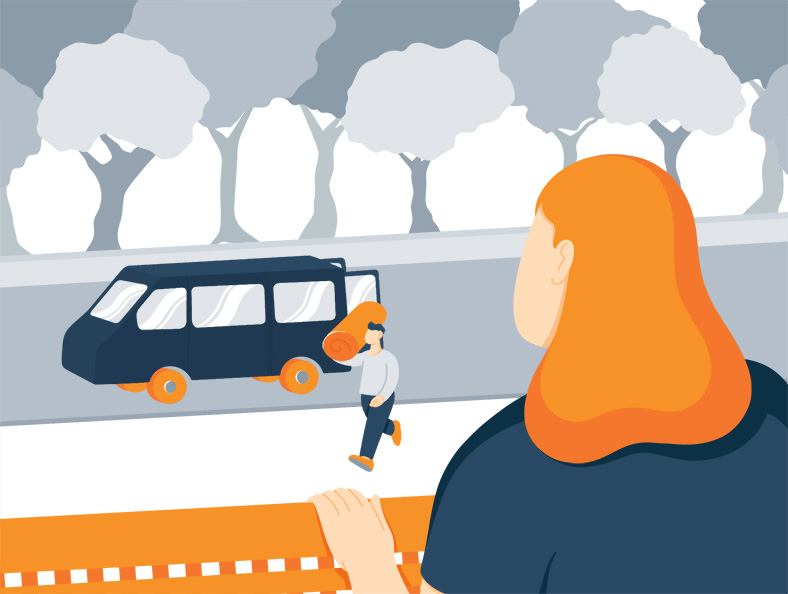 Illustration of a Lady Waiting for Mattress Delivery