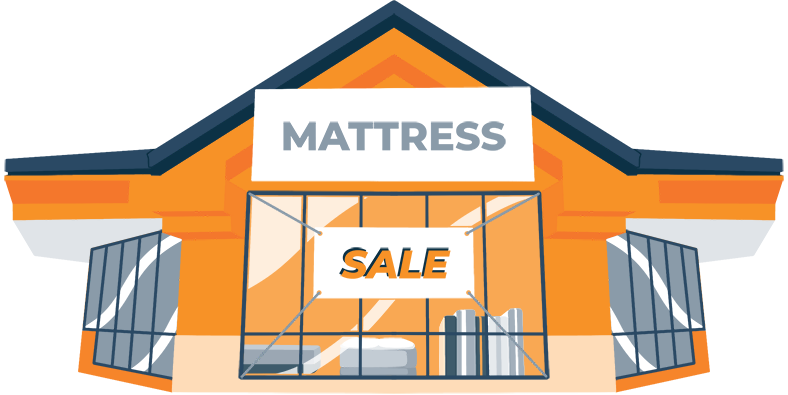 Illustration of a Mattress Store With a Sale Sign on the Door