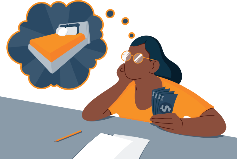 Illustration of a Woman Counting Her Savings While Thinking about New Bed