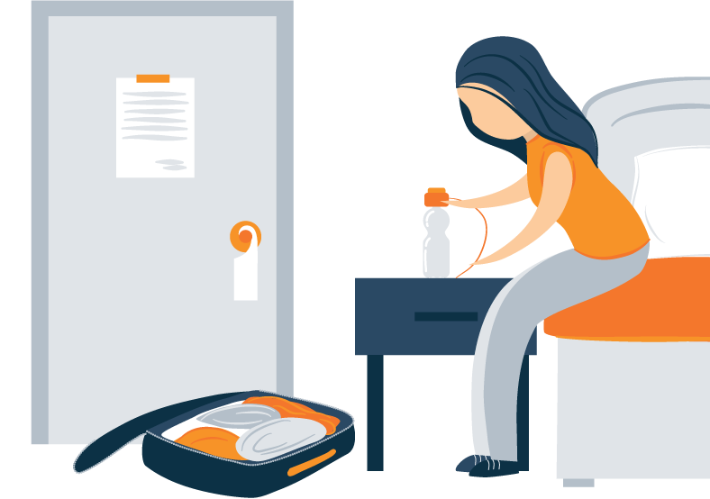 Illustration of a Woman Installing Humidifier in Her Hotel Room