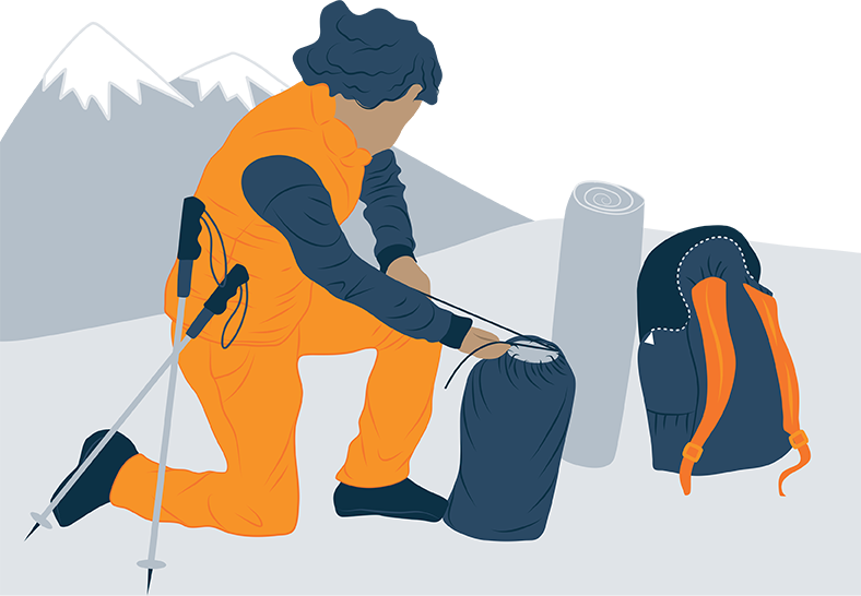 Woman packing her ultralight quilt into backpack illustration