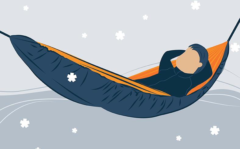 illustration of a men in enjoying in a winter hammock