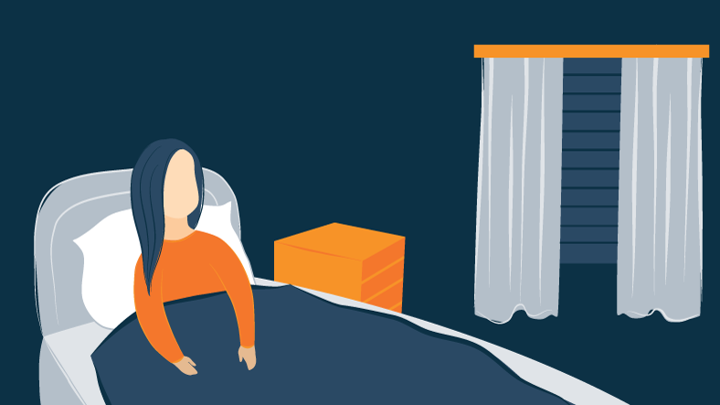 illustration of a woman using blackout curtains to fall asleep easier