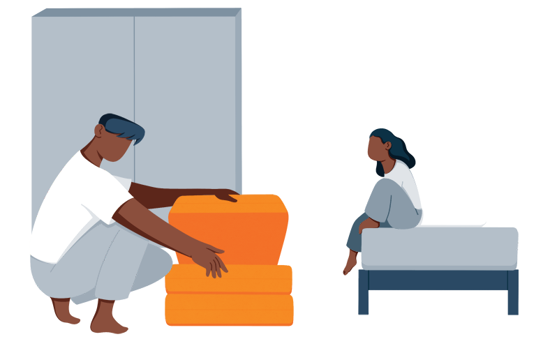 illustration of person setting up a folding bed