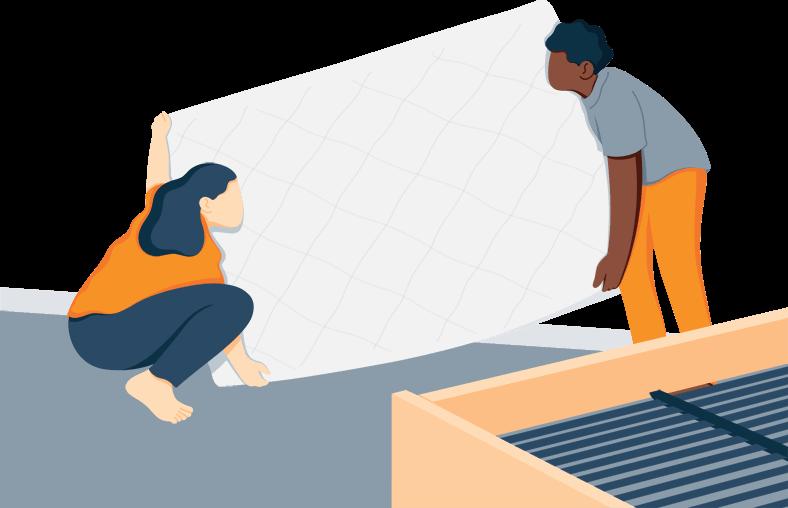 Illustration of a Couple Flipping Mattress