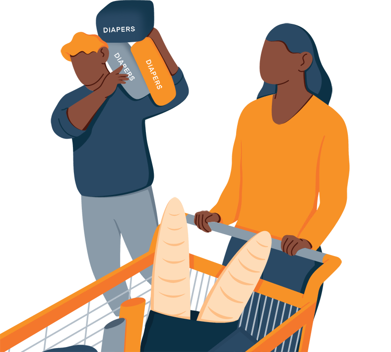 Illustration of a Couple in the Supermarket Buying Diapers