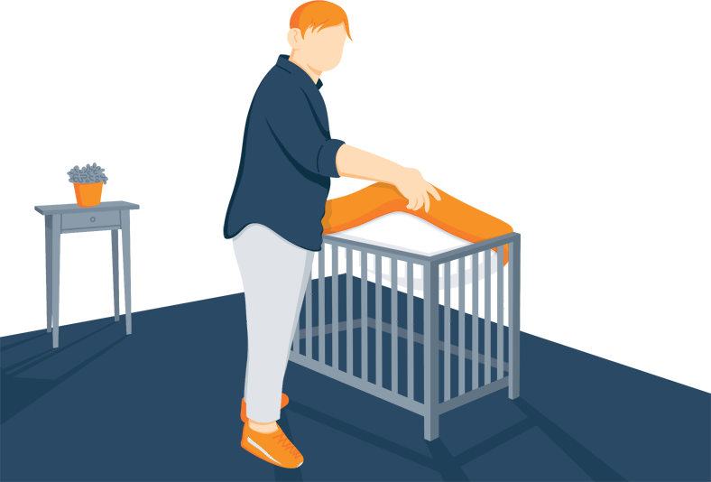 Illustration of a Dad Installing Mini Crib