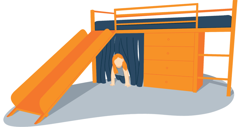 Illustration of a Girl Playing Under Her Loft Bed