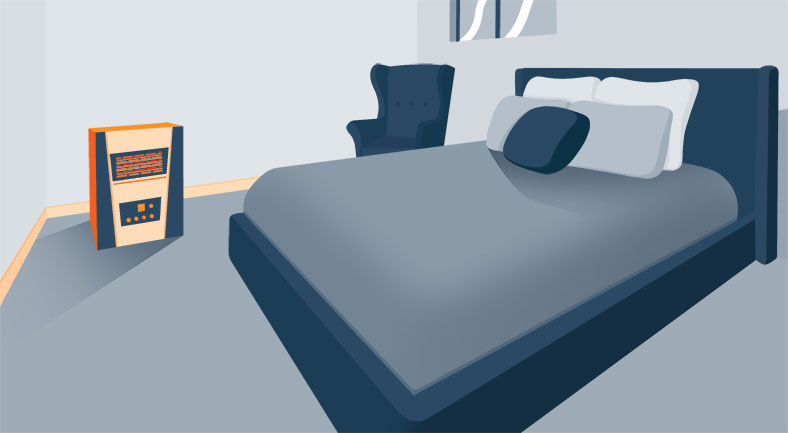 Illustration of a Heater in a Basement Bedroom