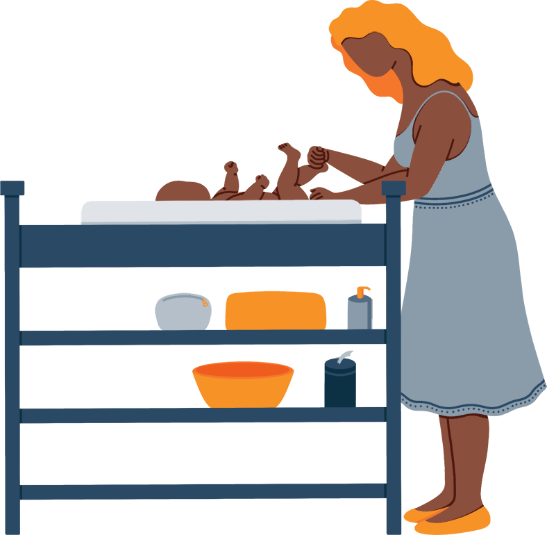 Illustration of a Mother Changing Her Baby's Diapers