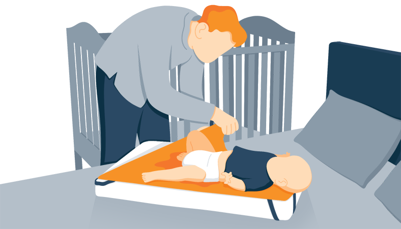 Illustration of a Parent Removing Wet Mattress Pad from Their Baby's Mattress