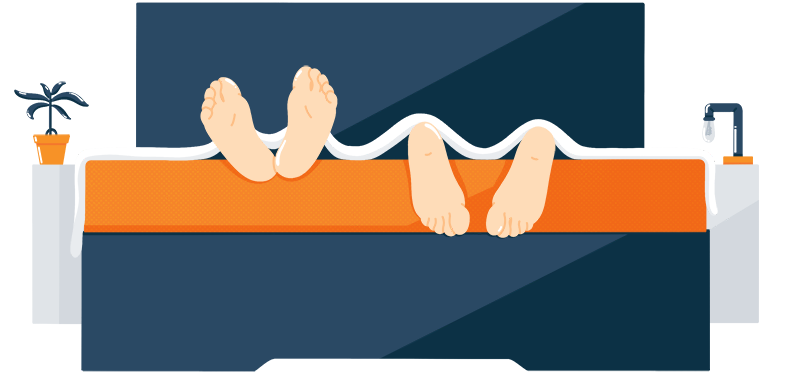 Illustration of a Sleeping Couples Feet