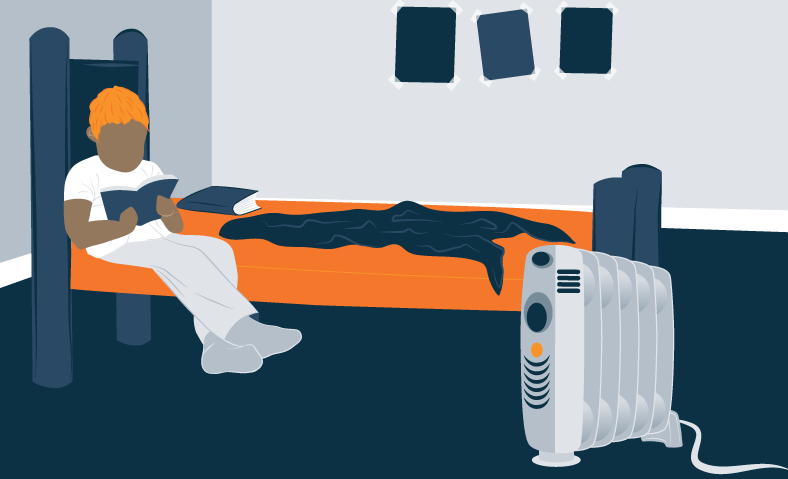Illustration of a Teenager Sitting on a Bed and an Oil Filled Heater Next to It