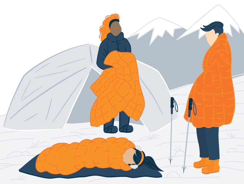 Illustration of a Three People Camping During the Winter