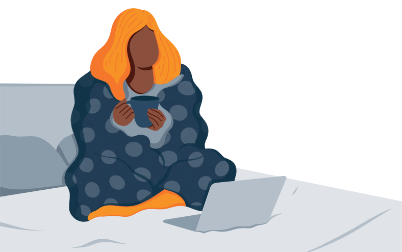 Illustration of a Woman Sitting on a Bed With a Throw Blanket Over Her Back