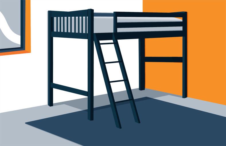 Illustration of a Wooden Loft Bed