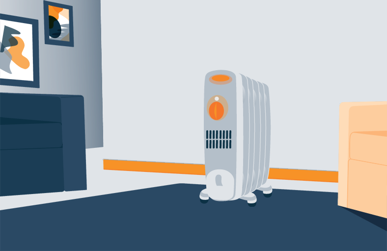 Illustration of an Oil Filled Heater in a Room