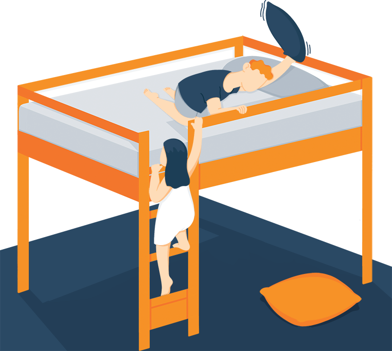 Kids Playing on a Loft Bed