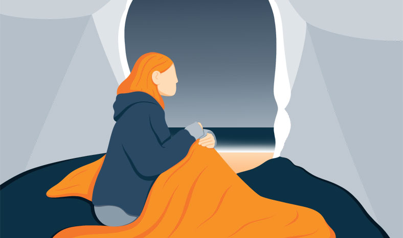Lady Sitting under the Tent Covered in Blanket - Illustration