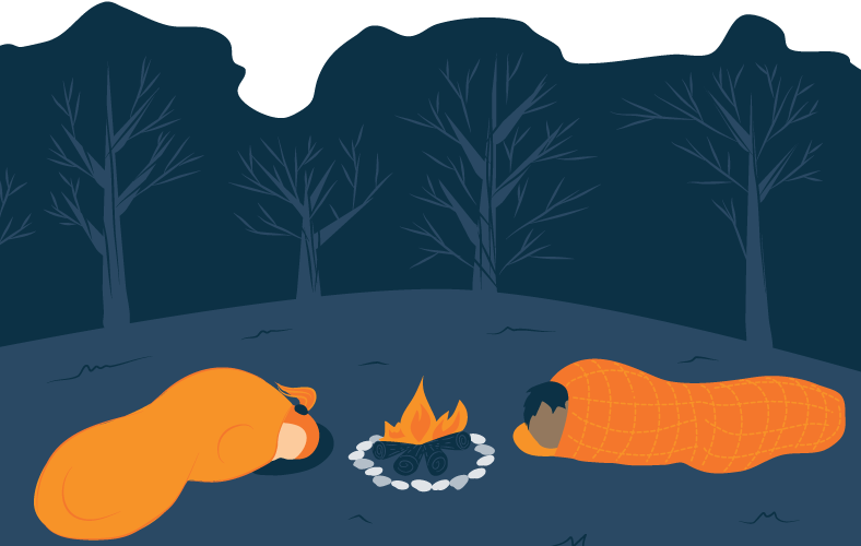 Two People Camping and Sleeping Next to Fire Illustration