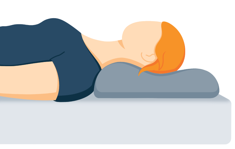 person sleeping with a neck supporting pillow
