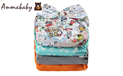 product image of Anmababy 4 Pack Adjustable Size Waterproof Washable Pocket Cloth Diapers