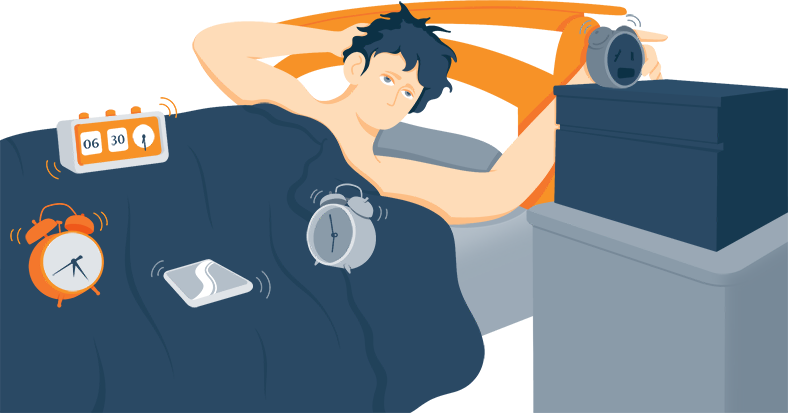 Deep Sleeper Trying to Wake Up With a Few Alarm Clocks Around Him Illustration