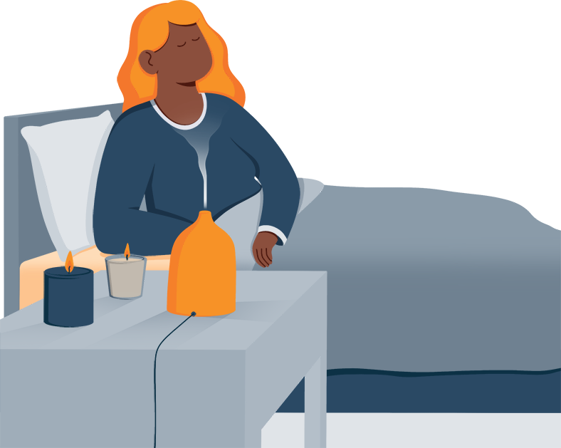 Illustration of a Lady Using a Difuser for Aromatherapy Before Bed