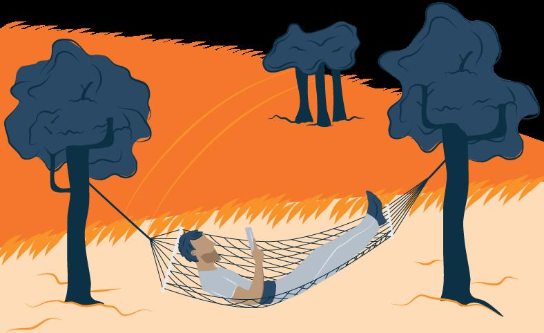 Illustration of a Man Reading in a Hammock