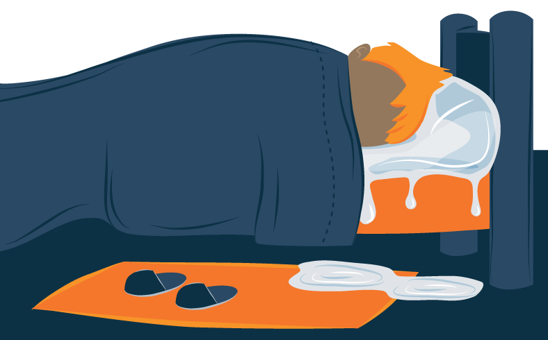 Illustration of a Person Sleeping on an Iced Pillow