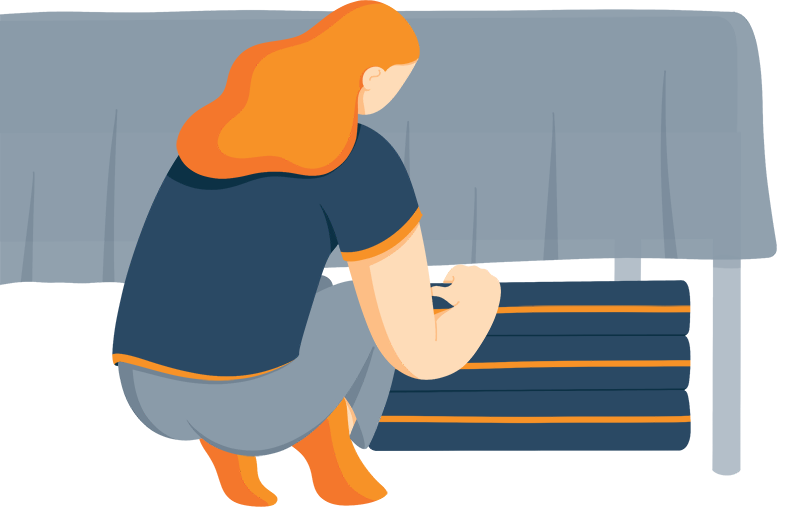 Illustration of a Woman Putting Foldable Mattress Under The Bed