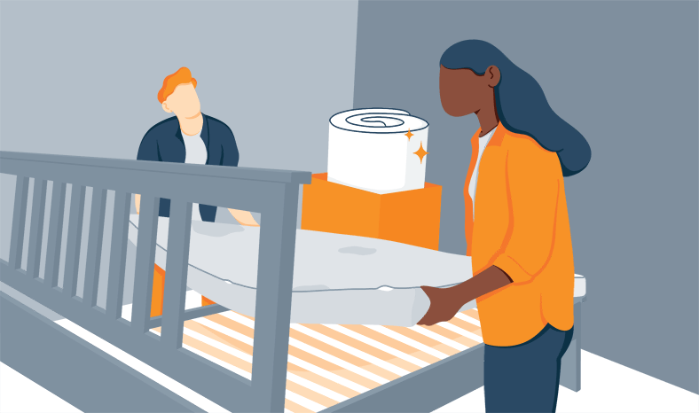 Illustration of a Couple Replacing Their Old Mattress with a New One