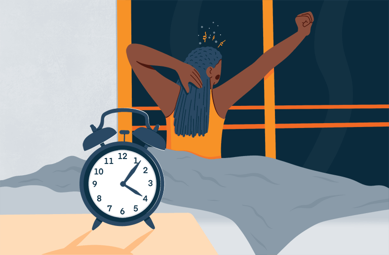 Illustration of a Lady Waking up in the Middle of the Night