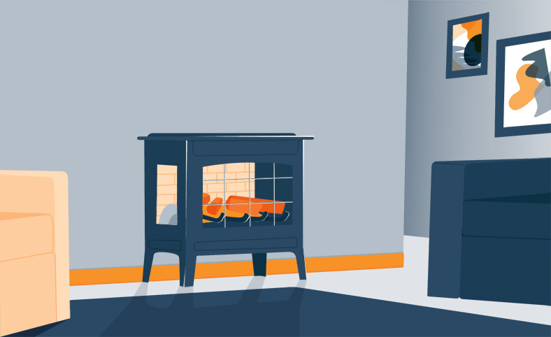Illustration of a Space Heater in a Room