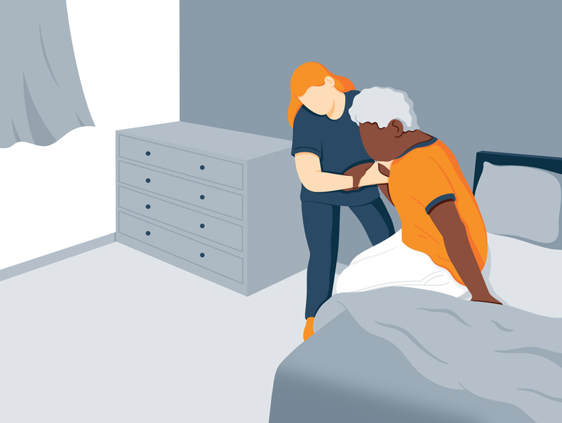 Illustration of a person helping a patient with bedsores