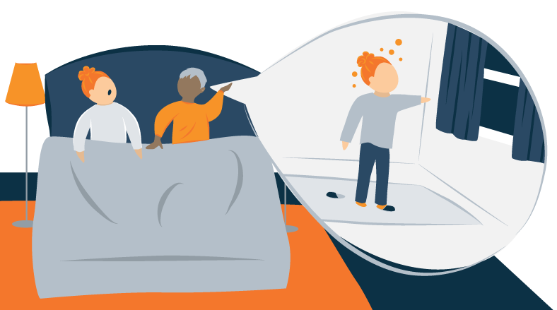 Illustration Of a Man Talking to His Wife About Her Sleepwalking