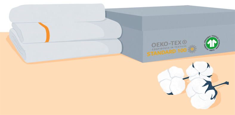 Illustration of a Box Of Organic Certified Cotton Sheets