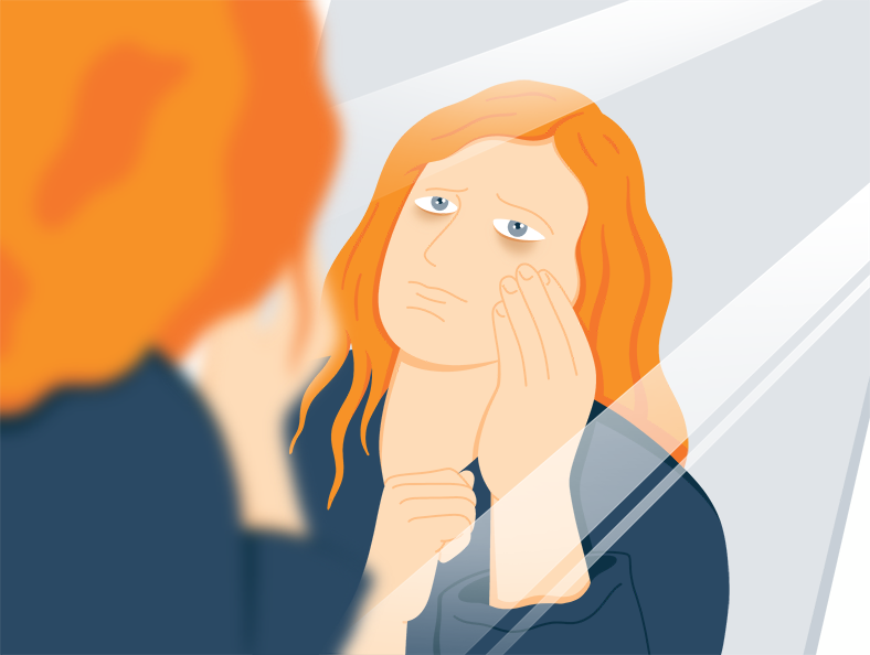 Illustration of a Lady Looking at Dark Circles over Her Eyes in the Mirror
