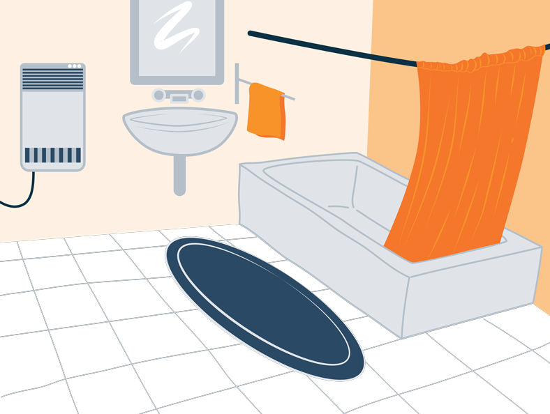 Illustration of a bathroom with a space heater