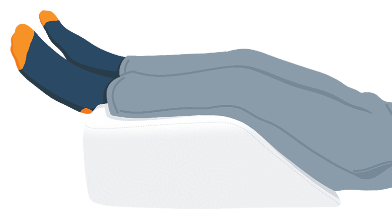 Illustration of a Legs Elevated on the Wedge Pillow