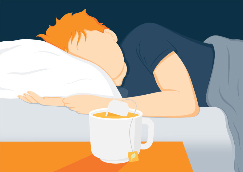 Illustration of a Man Sleeping Tight after a Cup of Tea