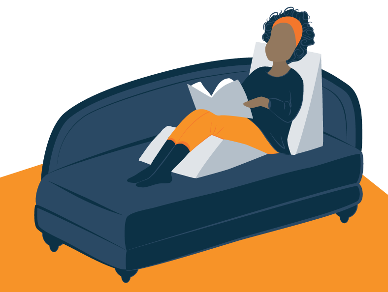 Illustration of a Woman Reading On a Couch With a Wedge Pillows Behind Her Back and Under Her Knees