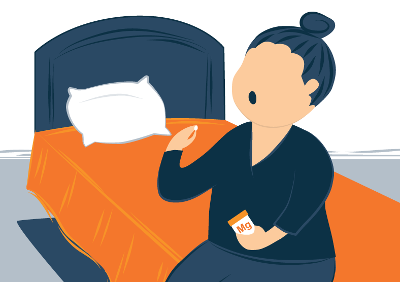 Illustration of a Woman Taking Magnesium Pill Before Bed