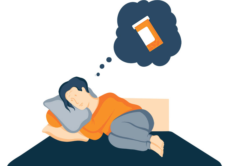 Illustration of a Woman in Bed Thinking about Pills