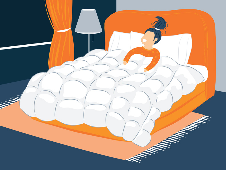 Illustration of a girl sleeping under the quilt