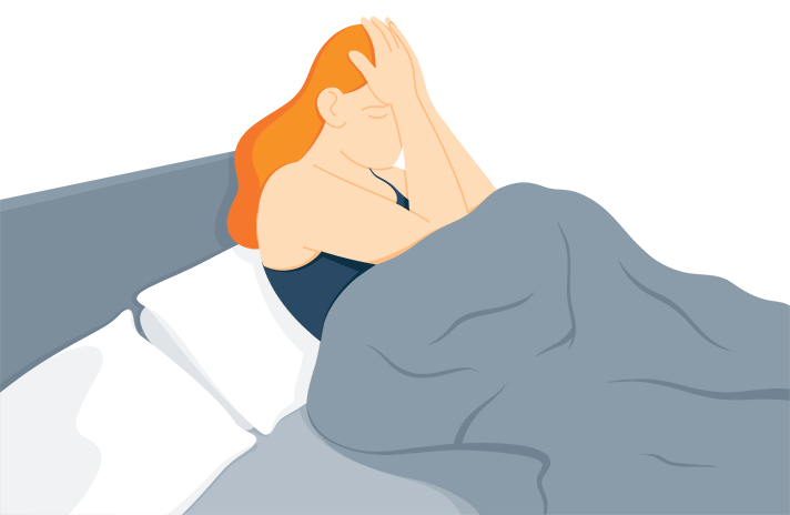 Illustration of a Frustrated Woman Who Can't Fall Asleep