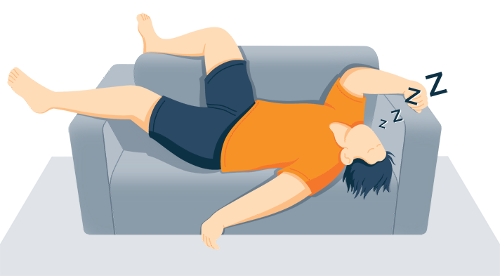 Illustration of a Man Napping on a Couch