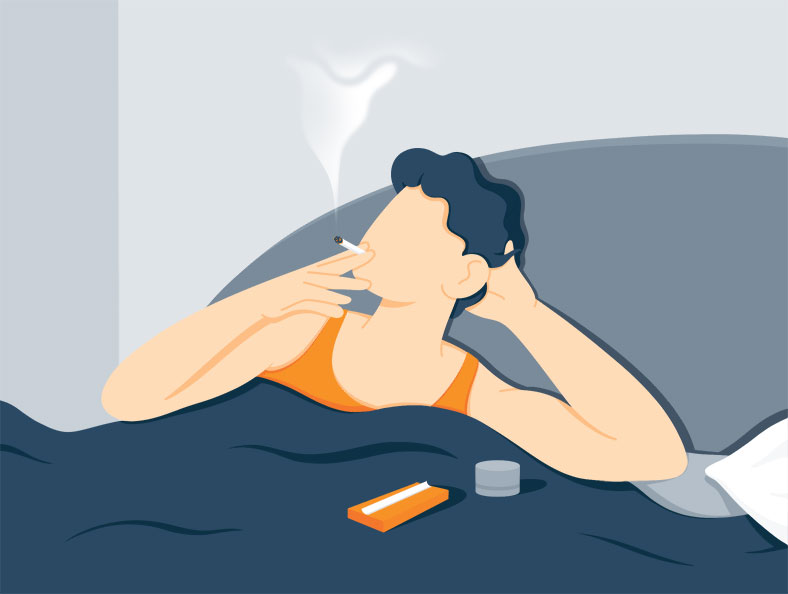 Illustration of a Man Smoking Weed Before Bedtime